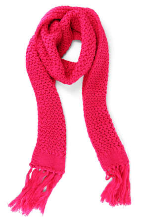 winter clothes: Warm knitted scarf pink isolated on white