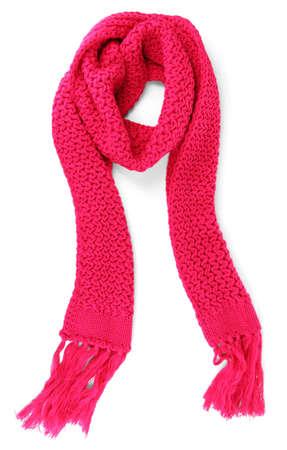 Warm rosa bufanda de punto aislado en blanco
