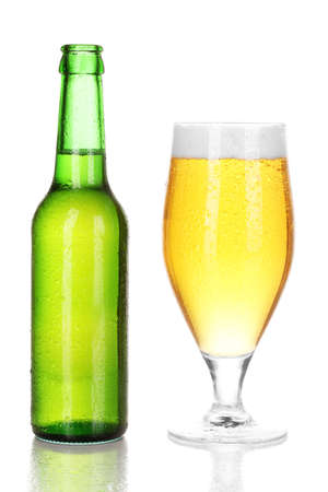 Bottle and glass of beer isolated on white photo