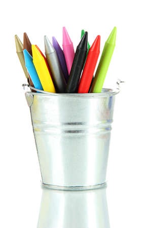 hued: Colorful pencils in pail isolated on white Stock Photo