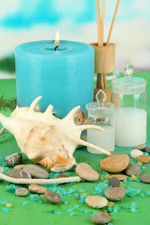 Sea spa composition on wooden table on blue natural background Stock Photo - 19039418