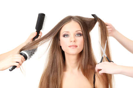 Woman with long hair in beauty salon, isolated on white Stock Photo - 19360814