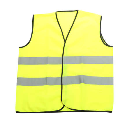 safety vest: Yellow vest, isolated on black