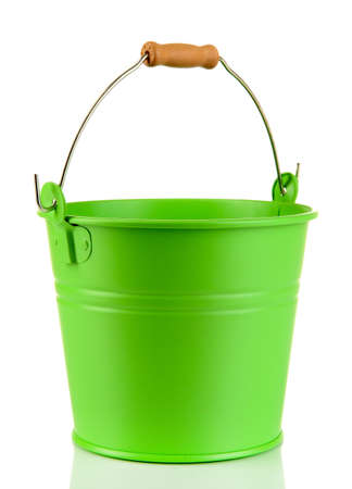 Empty green bucket isolated on white photo