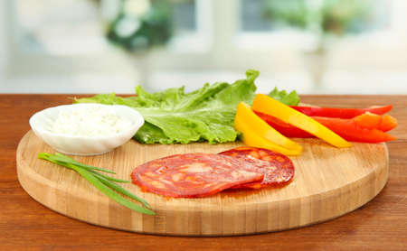 Ingredients for preparing salami rolls, on bright background Stock Photo - 19127524