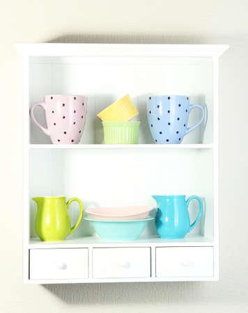 Kitchen utensils on beautiful white shelves Stock Photo - 19224533