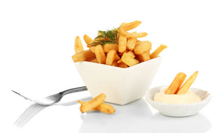 French fries in bowl isolated on white photo