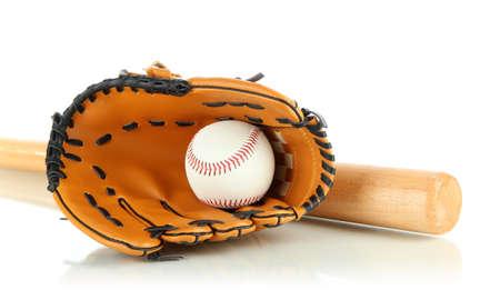 guante de beisbol: Guante, palo y bola aislados en blanco Foto de archivo