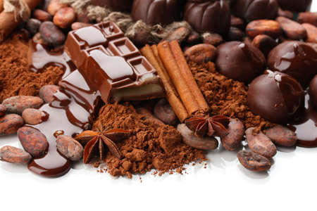 Composition of chocolate sweets, cocoa and spices, isolated on white Stock Photo - 19173630