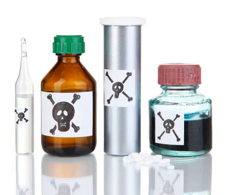 deadly: Deadly poison in bottles isolated on white