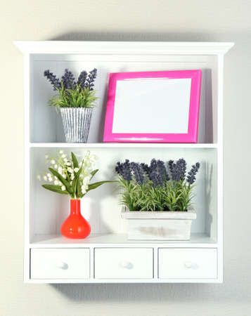 Beautiful white shelves with different home related objects Stock Photo - 19173485