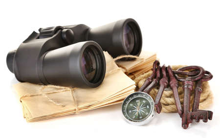 Black modern binoculars with compass and letters isolated on white photo