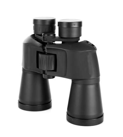 Black modern binoculars isolated on white photo