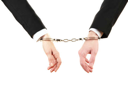 Man and woman hands and breaking handcuffs isolated on white background Stock Photo - 19227233
