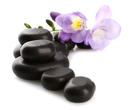 hot stone massage: Spa stones and purple flower, isolated on white Stock Photo