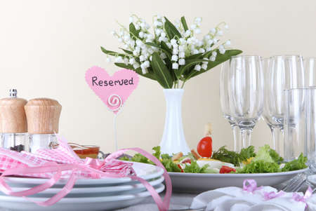 Table setting on beige background Stock Photo - 19248480