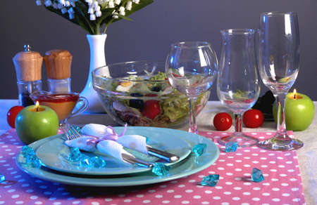 Table setting on dark background photo
