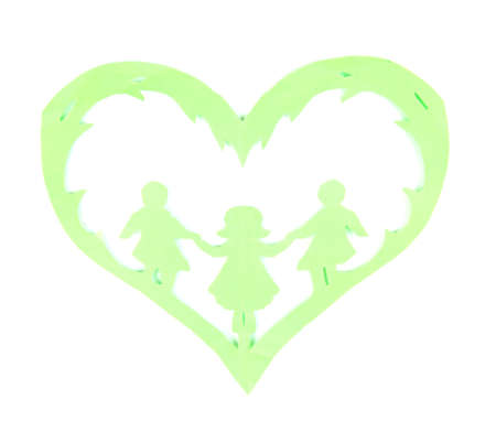 Green cut out paper heart with people inside, isolated on white photo