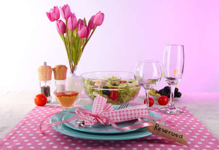 Table setting on pink background Stock Photo - 19271814