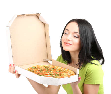 quick snack: Beautiful girl with delicious pizza in pizza box isolated on white