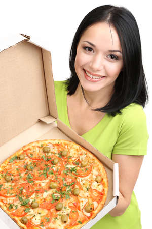Beautiful girl with delicious pizza in pizza box isolated on white photo