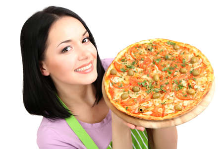 Girl housewife with delicious pizza isolated on white photo