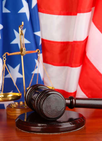 Judge gavel on american flag background Stock Photo - 19338464