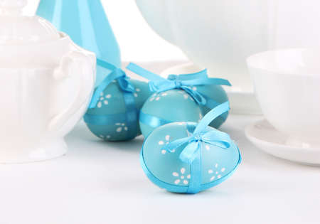 egg cup: Place setting for Easter close up Stock Photo