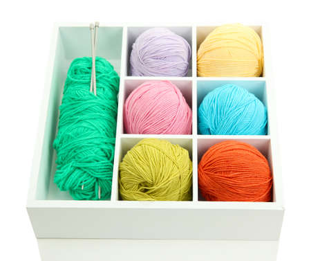 Material for knitting in white wooden box closeup photo