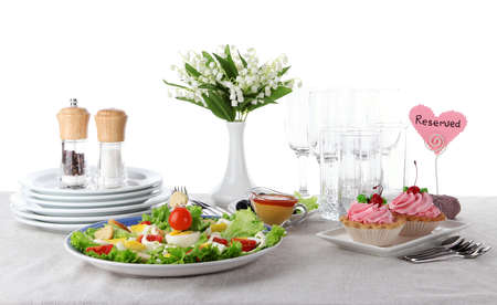 Table setting on tablecloth Stock Photo