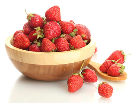 sweet ripe strawberries in wooden bowl isolated on white Stock Photo - 19364688