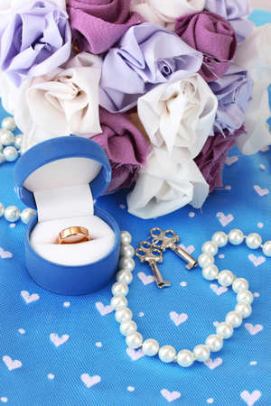 Conceptual photo: wedding in blue and violet color style photo