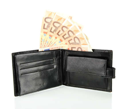 Euro in wallet isolated on white photo