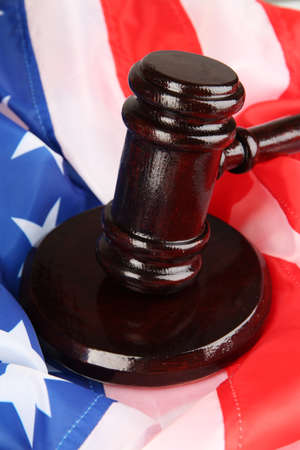 Judge gavel on american flag background Stock Photo