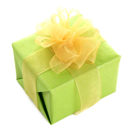 Bright gift with bow isolated on white photo