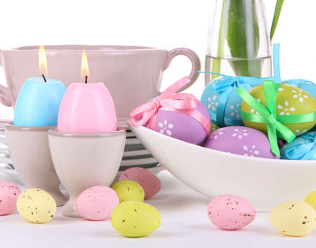 Place setting for Easter isolated on white photo
