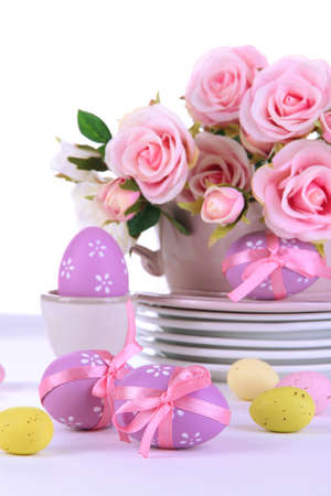 Place setting for Easter close up photo