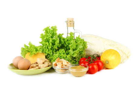 Ingredients for cooking kebab, isolated on white photo