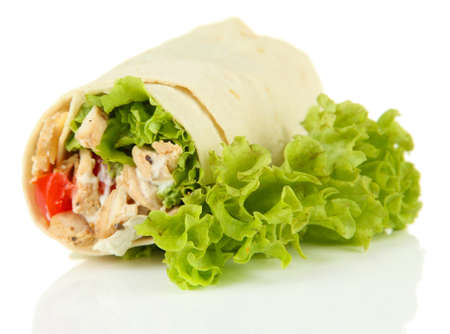 tortilla: Kebab - grilled meat and vegetables, isolated on white