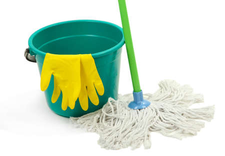 office cleanup: Mop, plastic bucket and rubber gloves, isolated on white