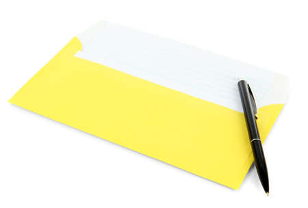 Envelope with pen isolated on white Stock Photo - 19421289