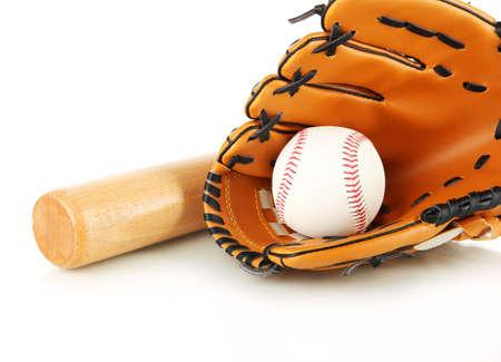 guante de beisbol: Guante de b?isbol, un bate y una pelota aislada en blanco
