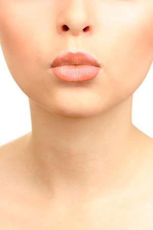 beige lips: Beautiful make up of glamour beige gloss lips Stock Photo
