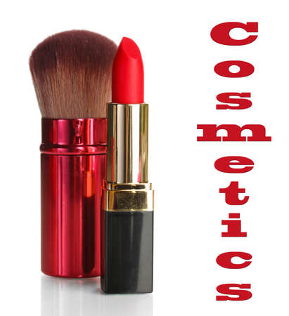 Beautiful red lipstick and makeup brush, isolated on white photo