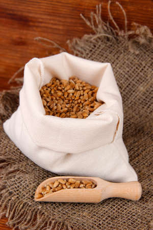Grains in sack on wooden background photo