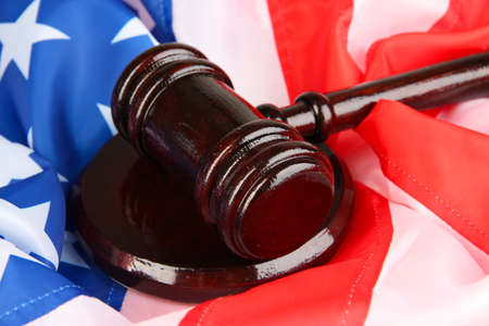 Judge gavel on american flag background Stock Photo - 19625831