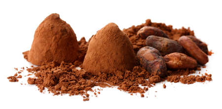 comfit: Chocolate truffles and cocoa isolated on white Stock Photo