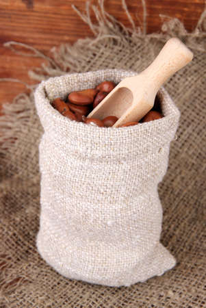 Beans in sack on wooden background photo