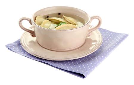 Tasty dumplings in  saucepan, isolated on white photo
