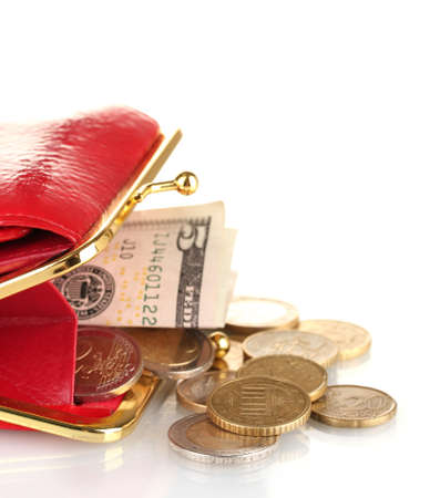 economise: female red wallet with money isolated on white